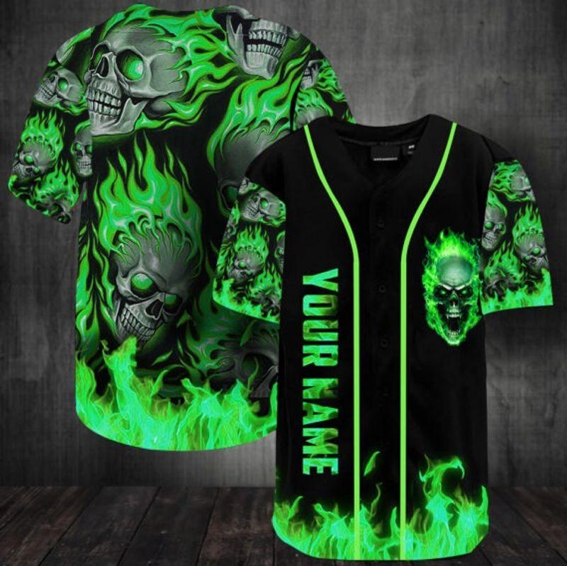 Sunny fire skull custom name baseball jersey shirt 15