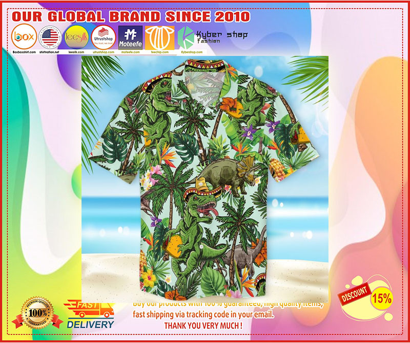 Taco dinosaur hawaiian shirt 10