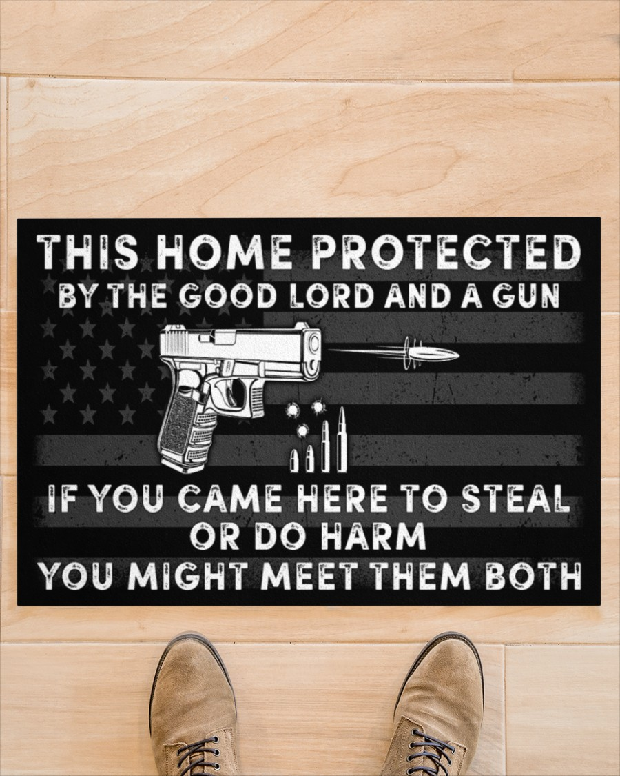 This home protected by the good lord and a gun doormat 11