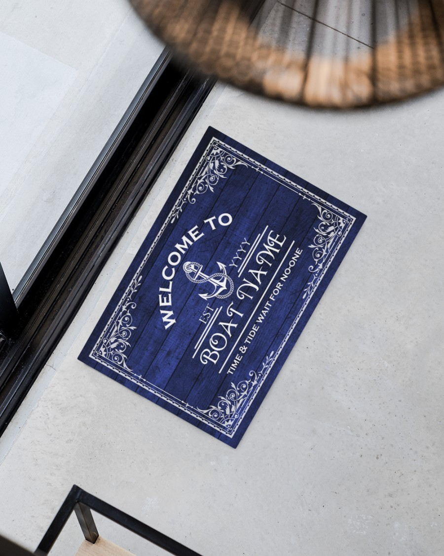 Welcome to time and tide wait for no one boat custom name doormat 12