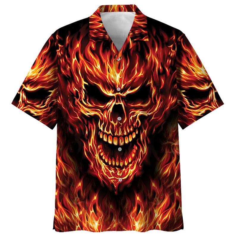 All Over Print Skull Fire Hawaiian Shirt 1