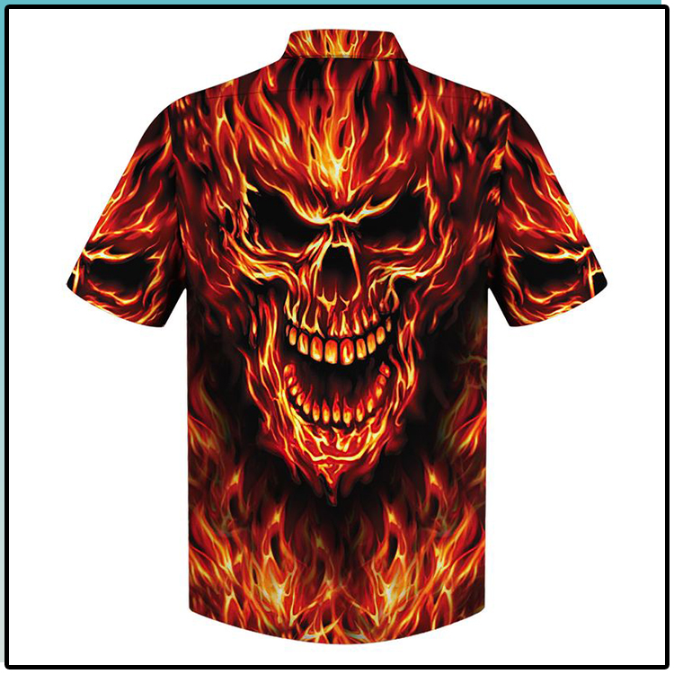 All Over Print Skull Fire Hawaiian Shirt