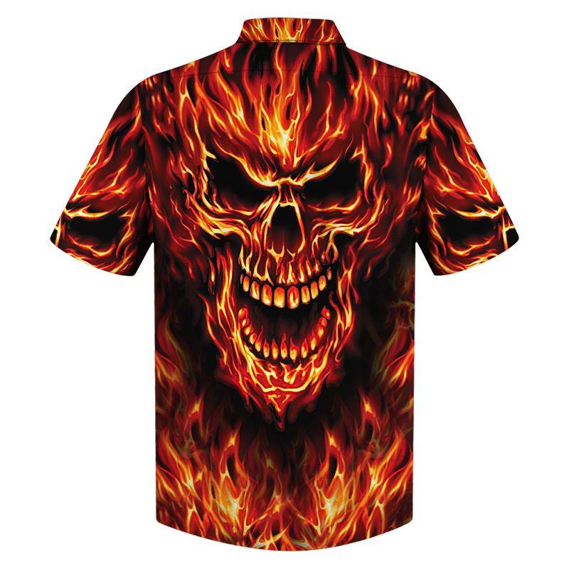 All Over Print Skull Fire Hawaiian Shirt1 1