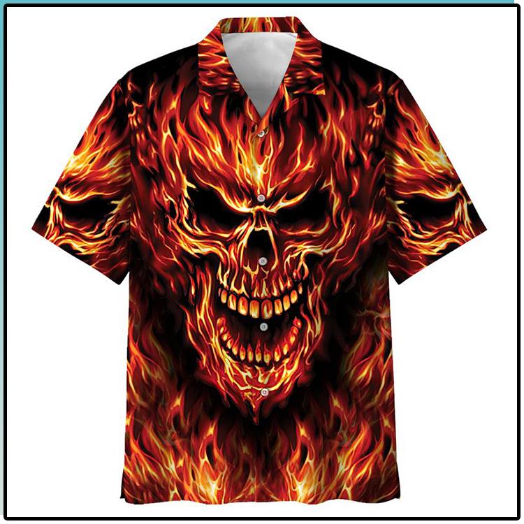 All Over Print Skull Fire Hawaiian Shirt1
