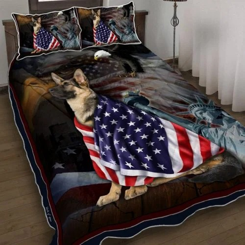 Alsace Dog German Shepherd American Patriot Quilt Bed Set Block Of Gear
