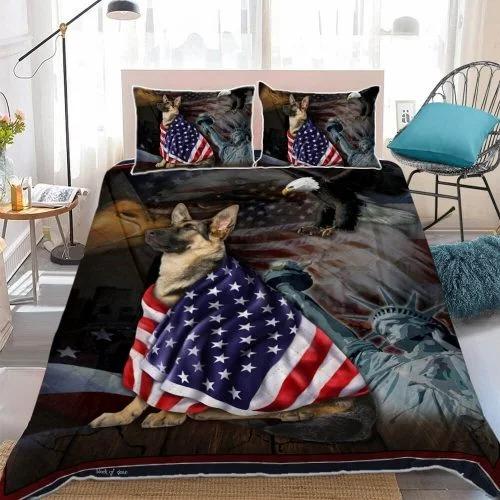 Alsace Dog German Shepherd American Patriot Quilt Bed Set Block Of Gear1