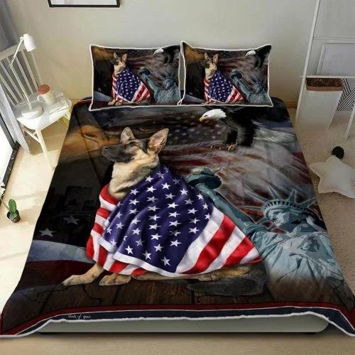 Alsace Dog German Shepherd American Patriot Quilt Bed Set Block Of Gear2