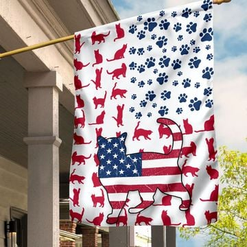 American Cat Lovers House Flag And Garden Flag
