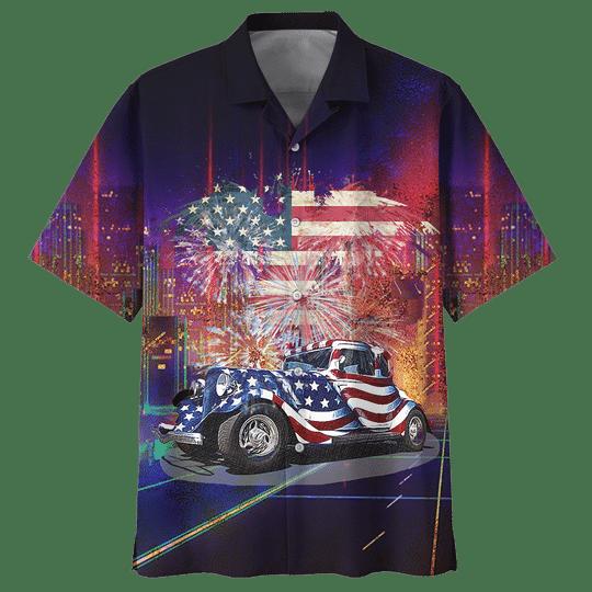 American Fire Work Hot Rod Hawaiian Shirt