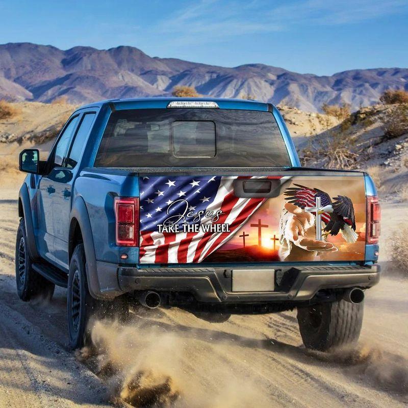 American Flag Jesus Take The Wheel Truck Tailgate Decal Sticker Wrap 1 1