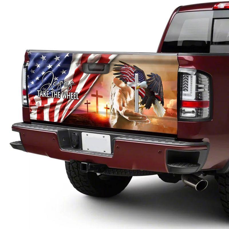 American Flag Jesus Take The Wheel Truck Tailgate Decal Sticker Wrap 2