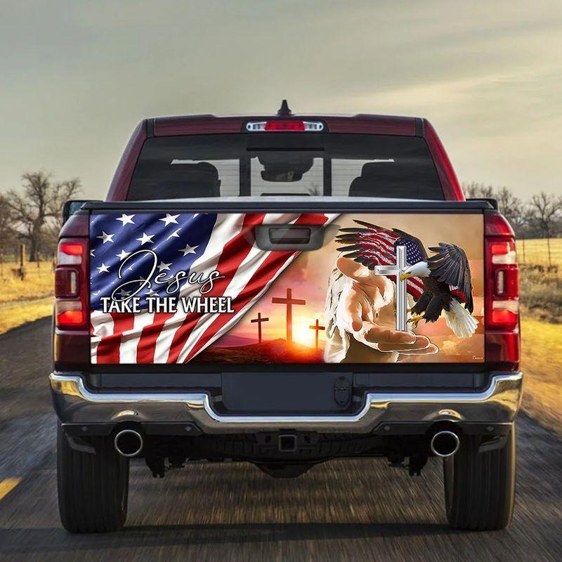 American Flag Jesus Take The Wheel Truck Tailgate Decal Sticker Wrap