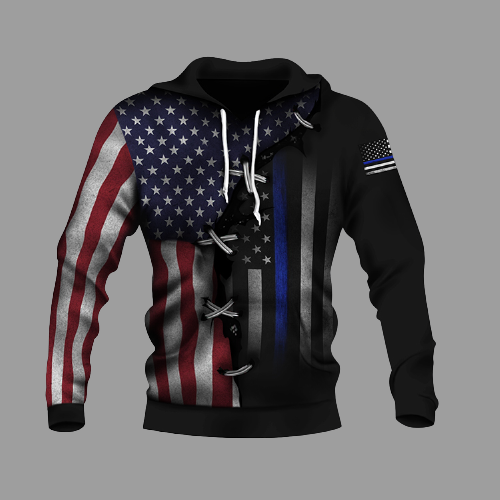 American Thin Blue Line And American US Flag 3d over print hoodie1