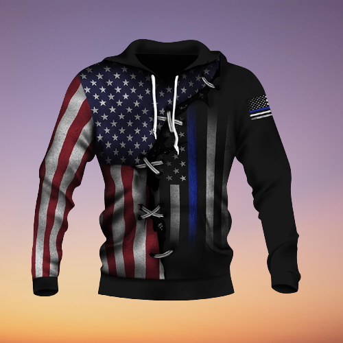 American Thin Blue Line And American US Flag 3d over print hoodie2