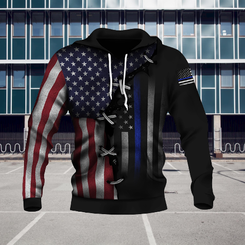 American Thin Blue Line And American US Flag 3d over print hoodie4