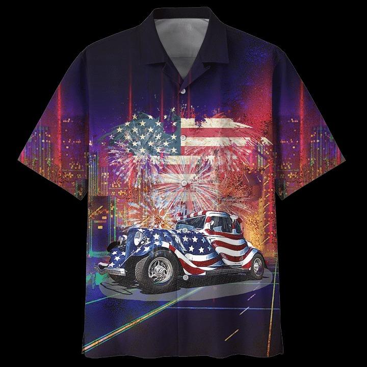 American flag Fire Work Hot Rod Hawaiian Shirt