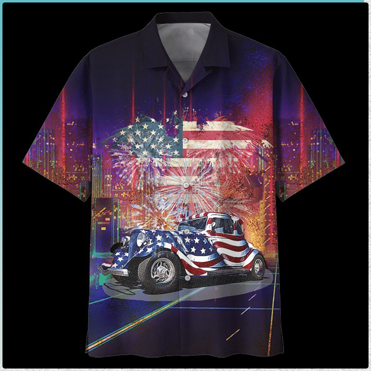 American flag Fire Work Hot Rod Hawaiian Shirt1