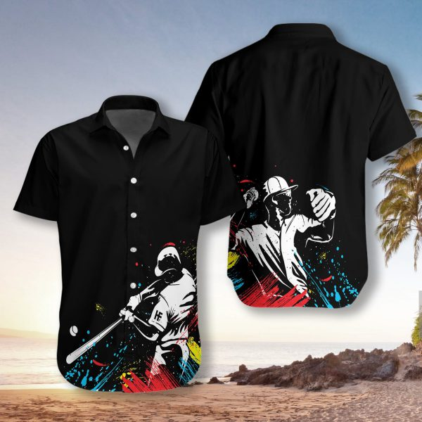 Baseball Players Silhouettes On Paintbal Hawaiian Shirt2 600x600 1