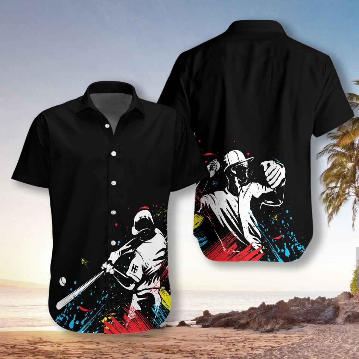 Baseball Players Silhouettes On Paintbal Hawaiian Shirt2