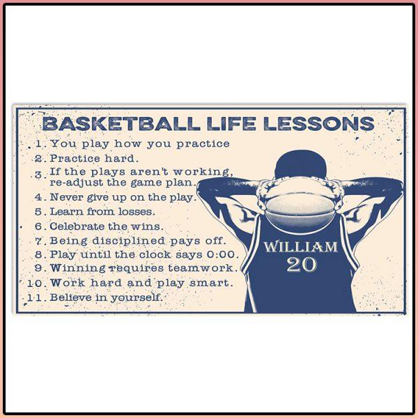 Basketball Life Lessons Custom Name Horizontal Poster 600x600 1