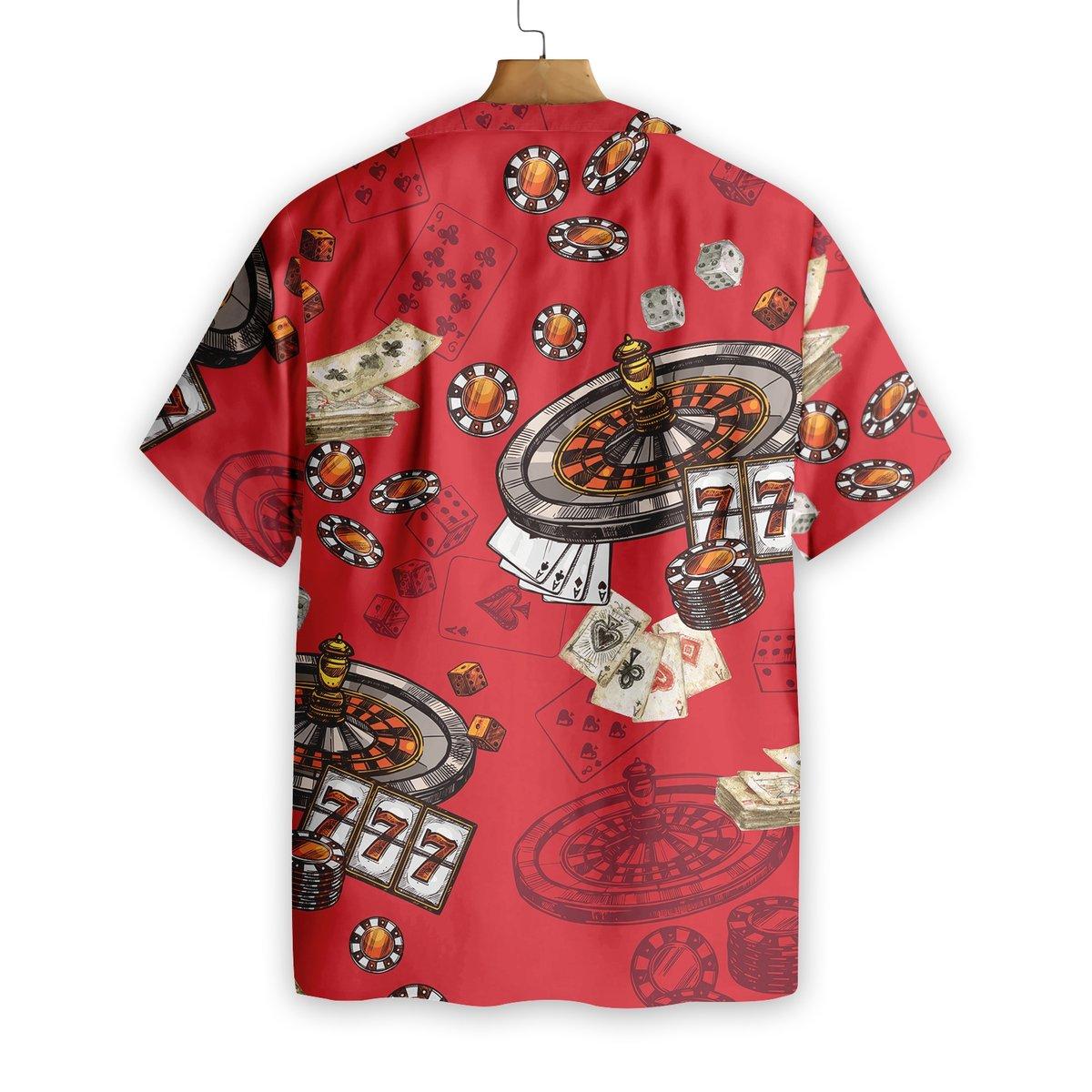 Casino Pattern Red Background Hawaiian Shirt1