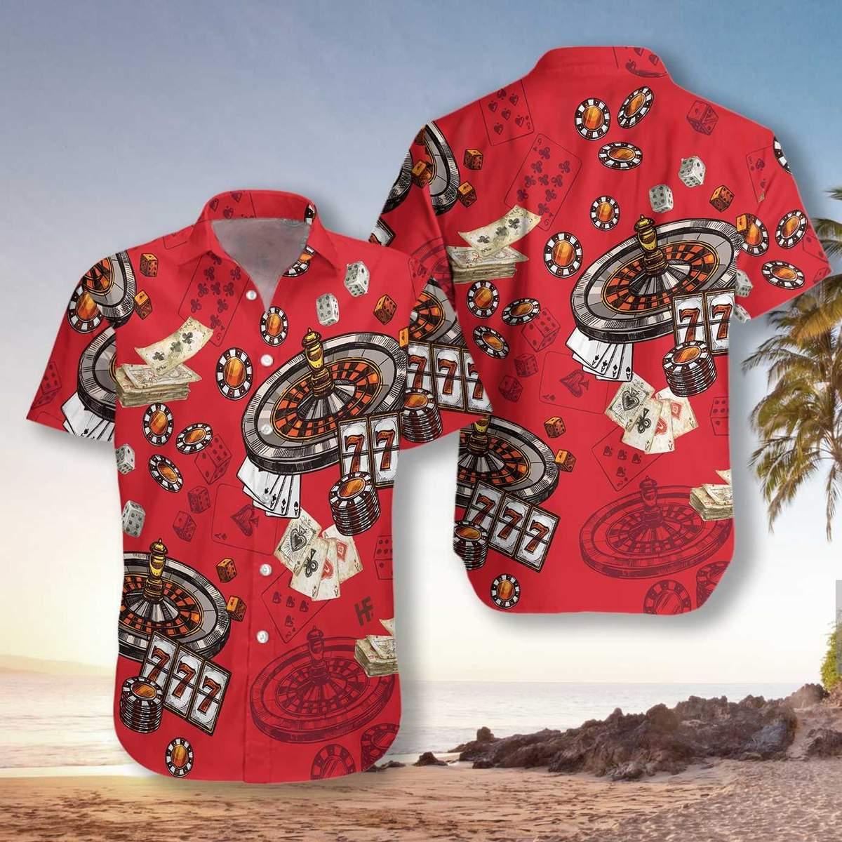 Casino Pattern Red Background Hawaiian Shirt2