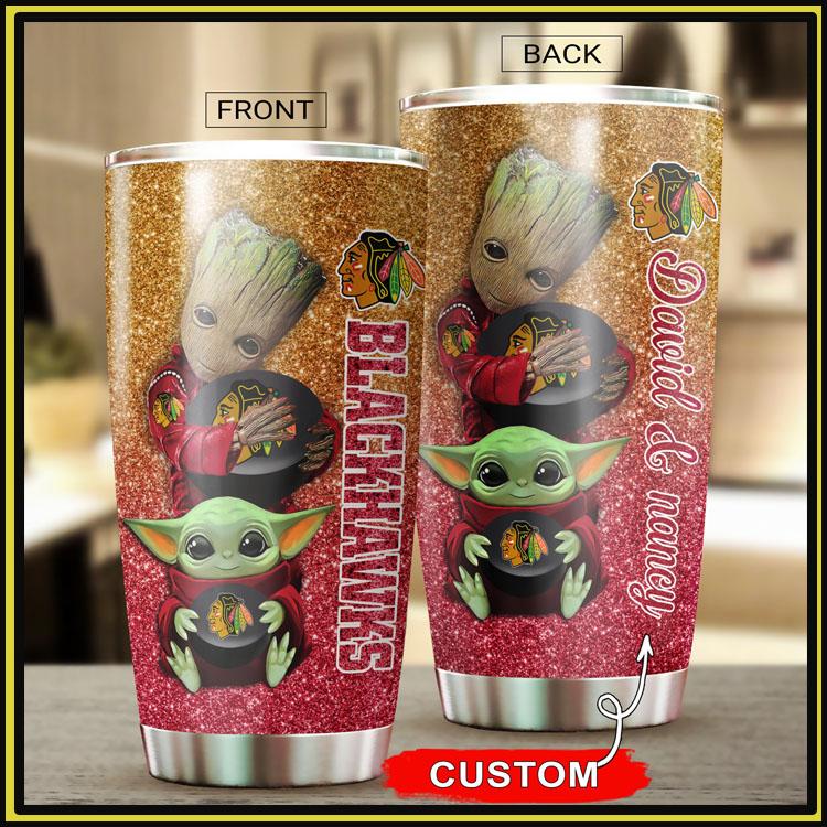 Chicago blackhawks Groot Baby Yoda tumbler cup8