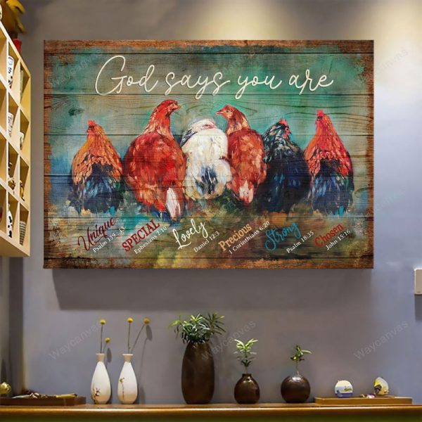 Chicken God Says You Are Unique Jesus canvas wall art 600x600 1