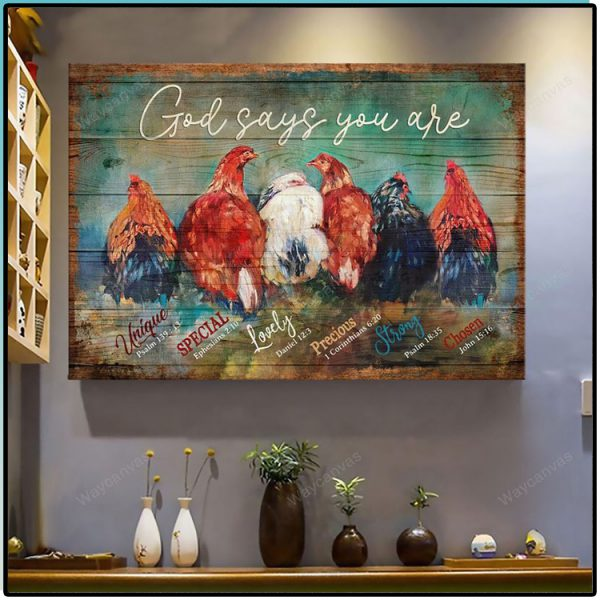 Chicken God Says You Are Unique Jesus canvas wall art1 600x600 1