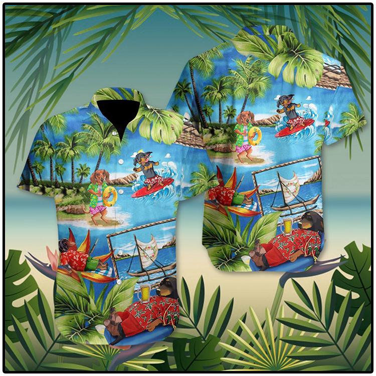 Dachshund American Summer Hawaii Shirt 1 1