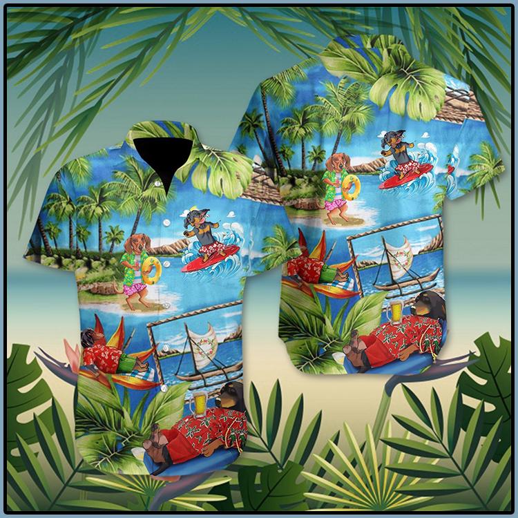 Dachshund American Summer Hawaii Shirt 5