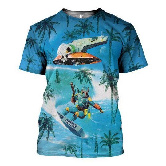 Dadalorian Surfing Hawaiian Shirt 1