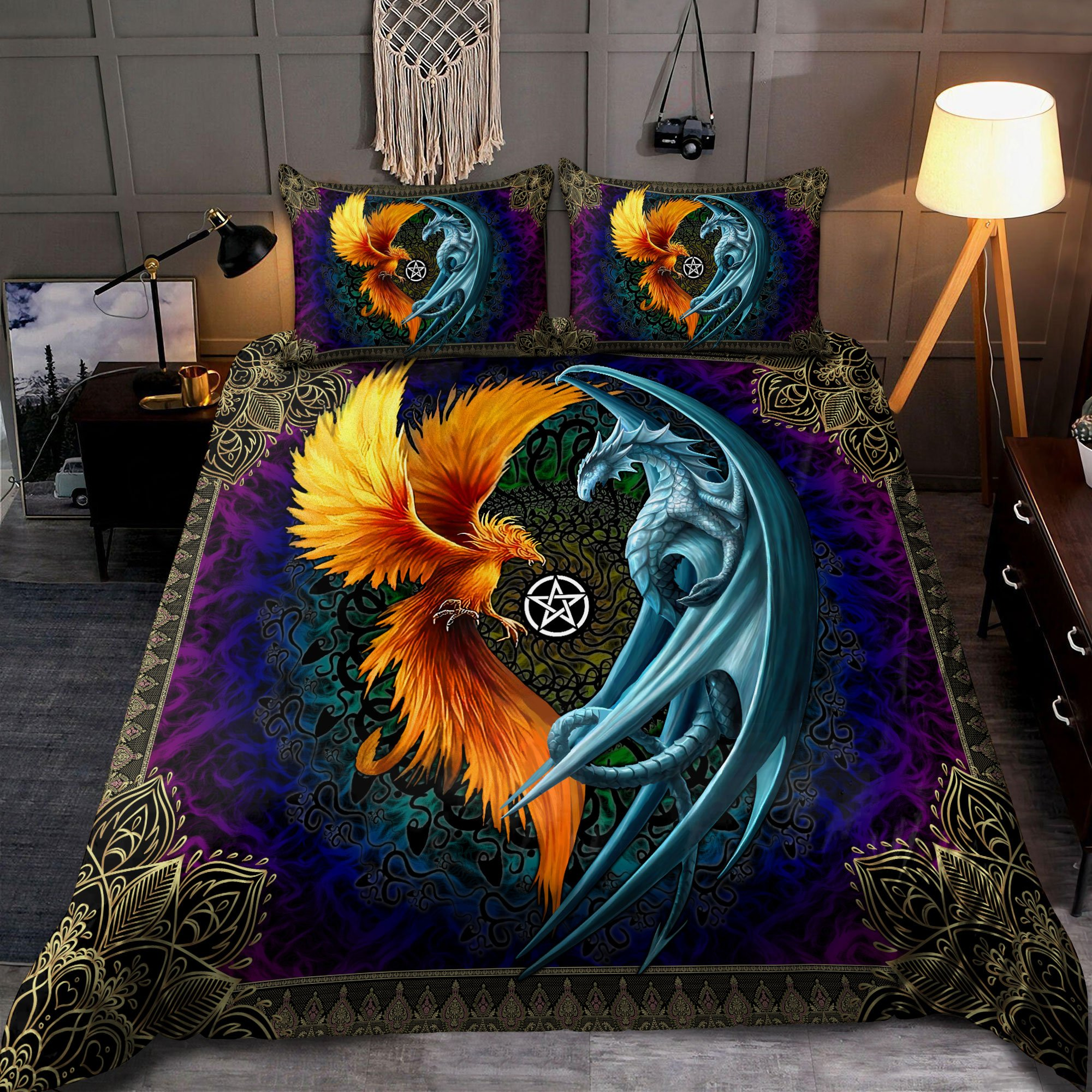 Dragon And Phoenix 3D All Over Printed Bedding Set 3