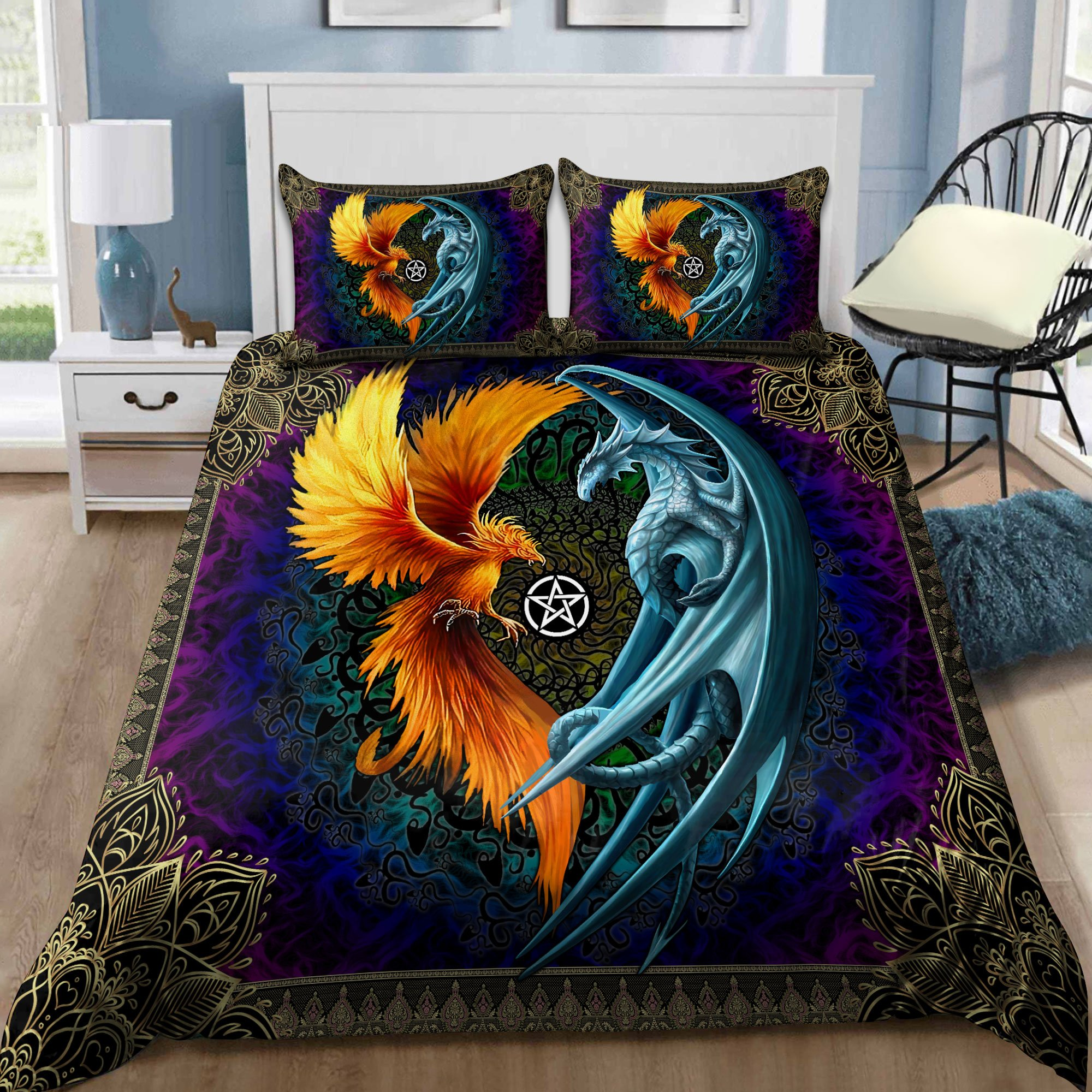 Dragon And Phoenix 3D All Over Printed Bedding Set