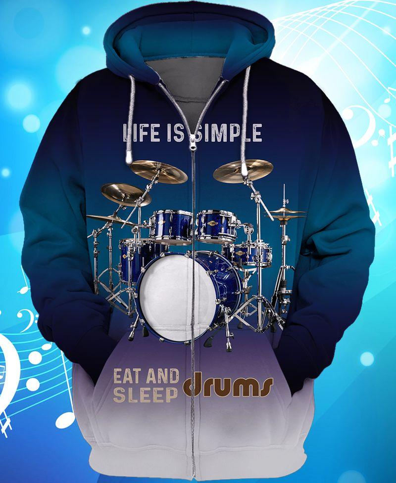 Drum Life Is Simple Eat And Sleep Zip hoodie