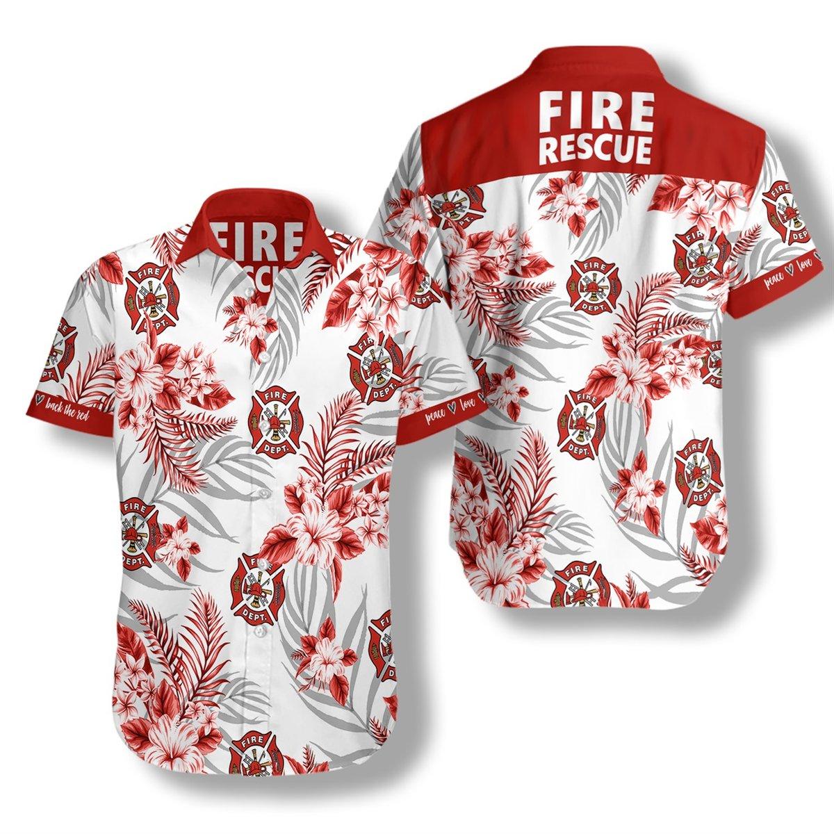 Firefighter Fire Rescue Hawaiian Shirt2