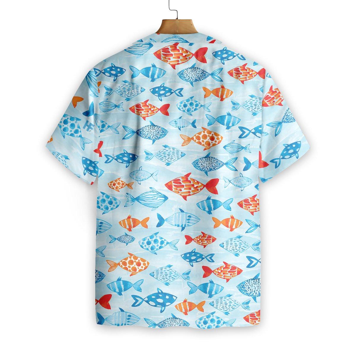 Fish Water Color Hawaiian Shirt1