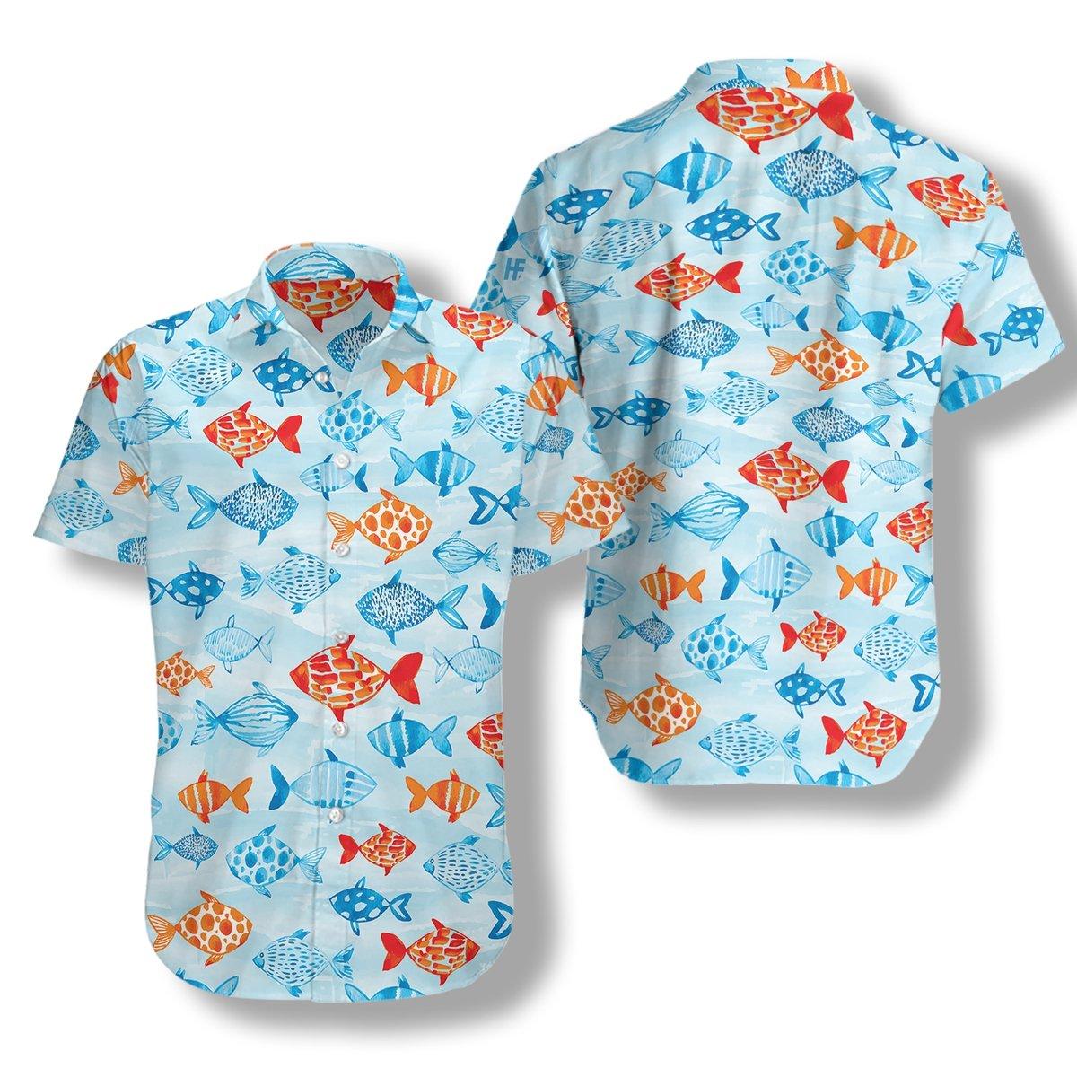 Fish Water Color Hawaiian Shirt2