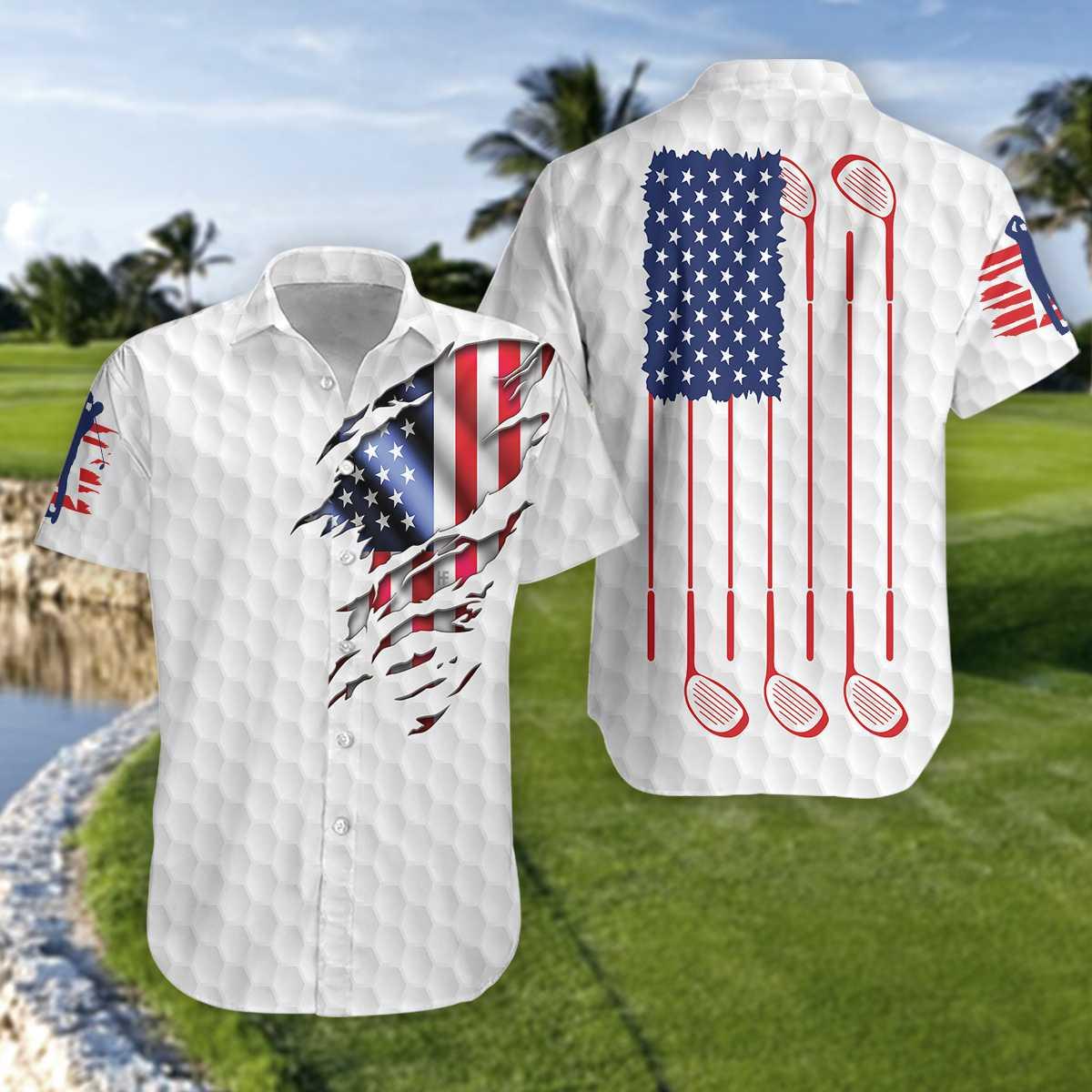 Golf American Flag Hawaiian Shirt2 1