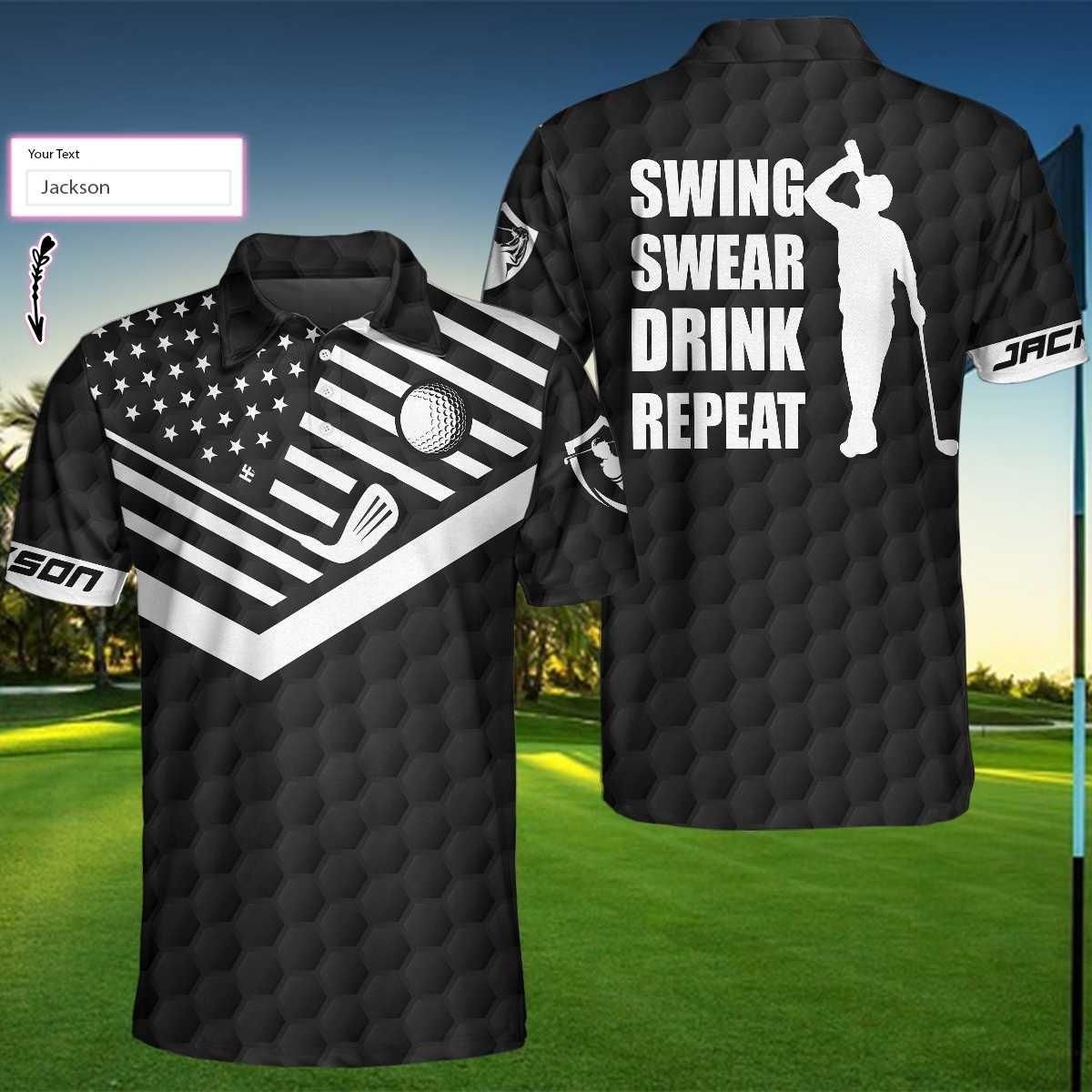 Golf Swing Swear Drink Repeat Custom Polo Shirt