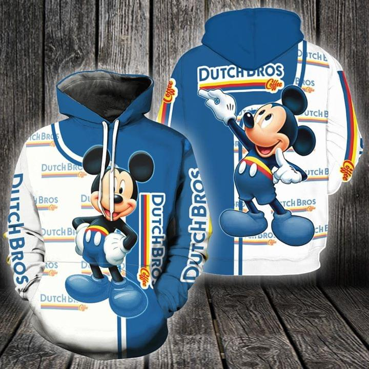 Mickey mouse Dutch bros 3d all over print hoodie 3