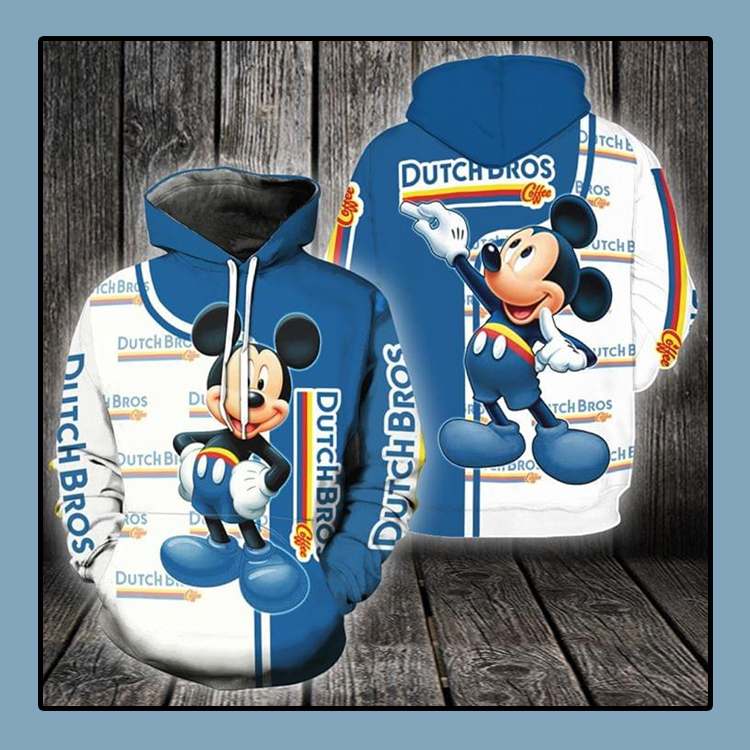 Mickey mouse Dutch bros 3d all over print hoodie 4