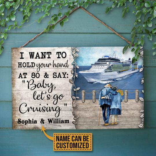 Personalized Cruising Baby Lets Go Customized Wood Rectangle Sign