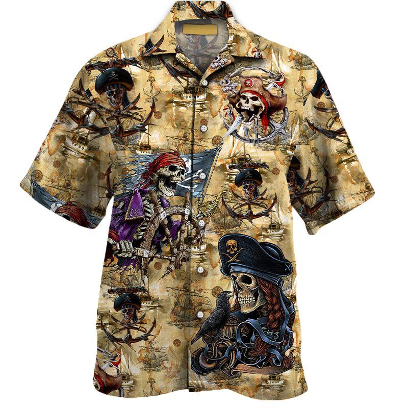 Pirates Skull All Over Print Hawaiian Shirt 1