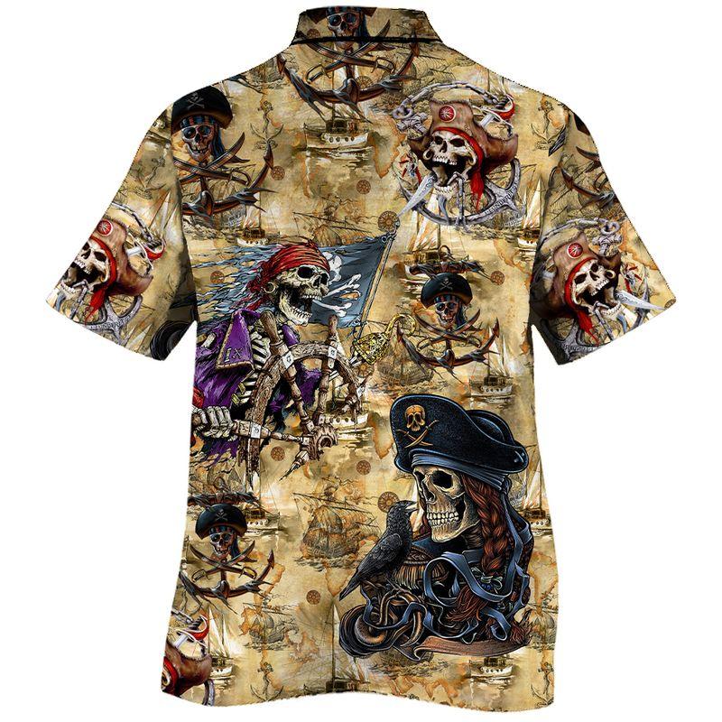 Pirates Skull All Over Print Hawaiian Shirt1 1