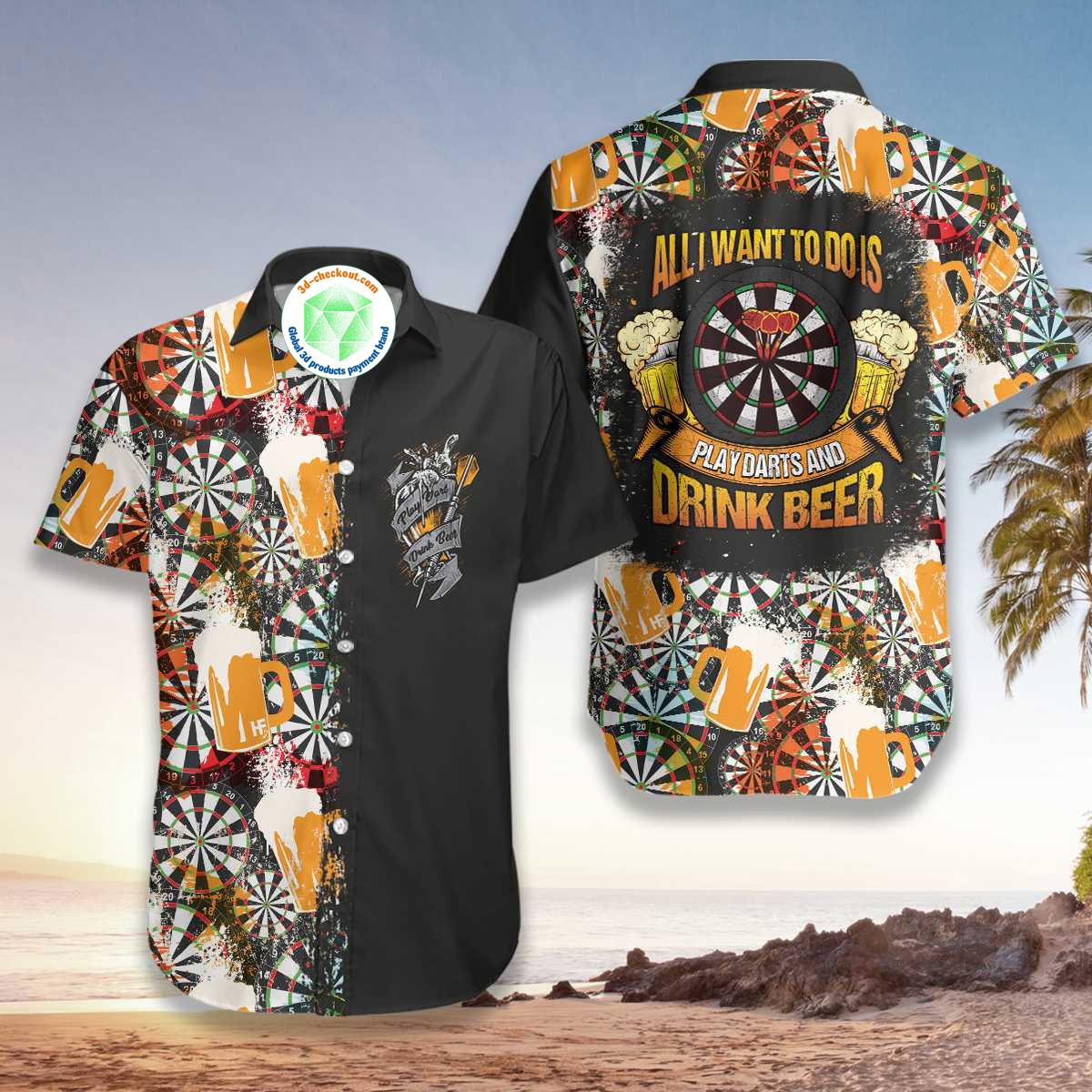 Play Darts And Drink Beer V1 Hawaiian Shirt2