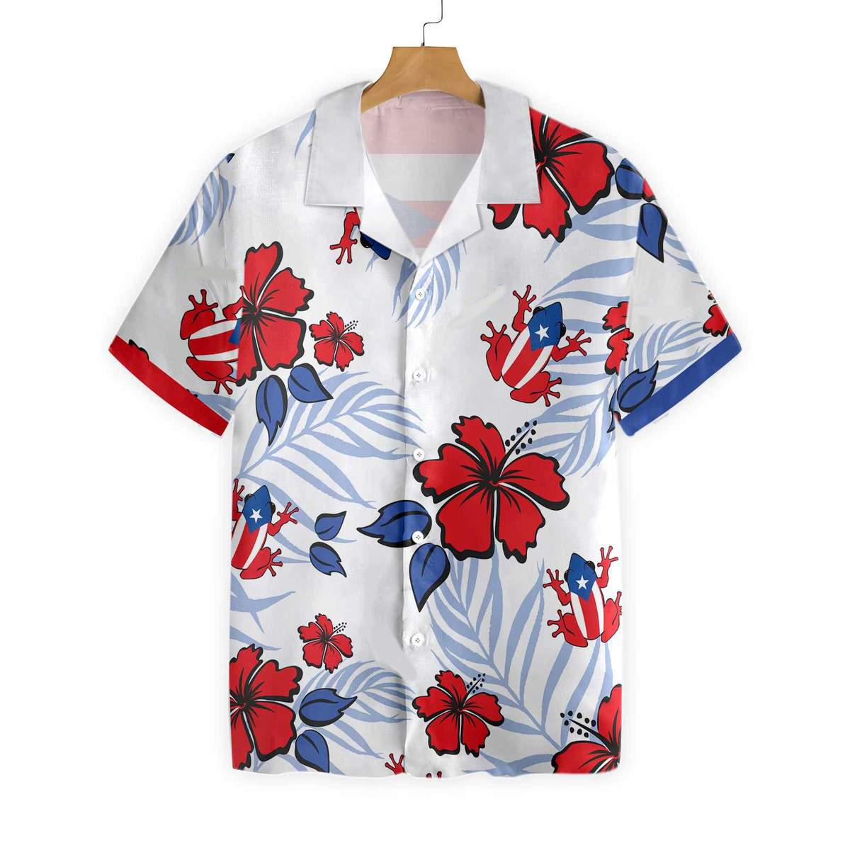 Puerto Rico Common Coqui Flag Hawaiian Shirt