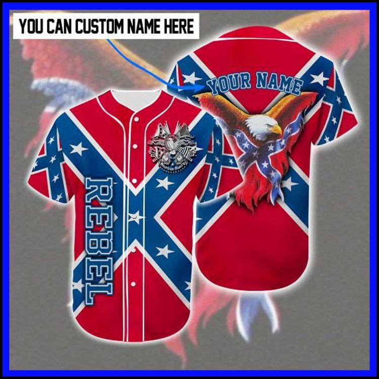 Rebel Confederate flag eagle customized baseball tee shirt9