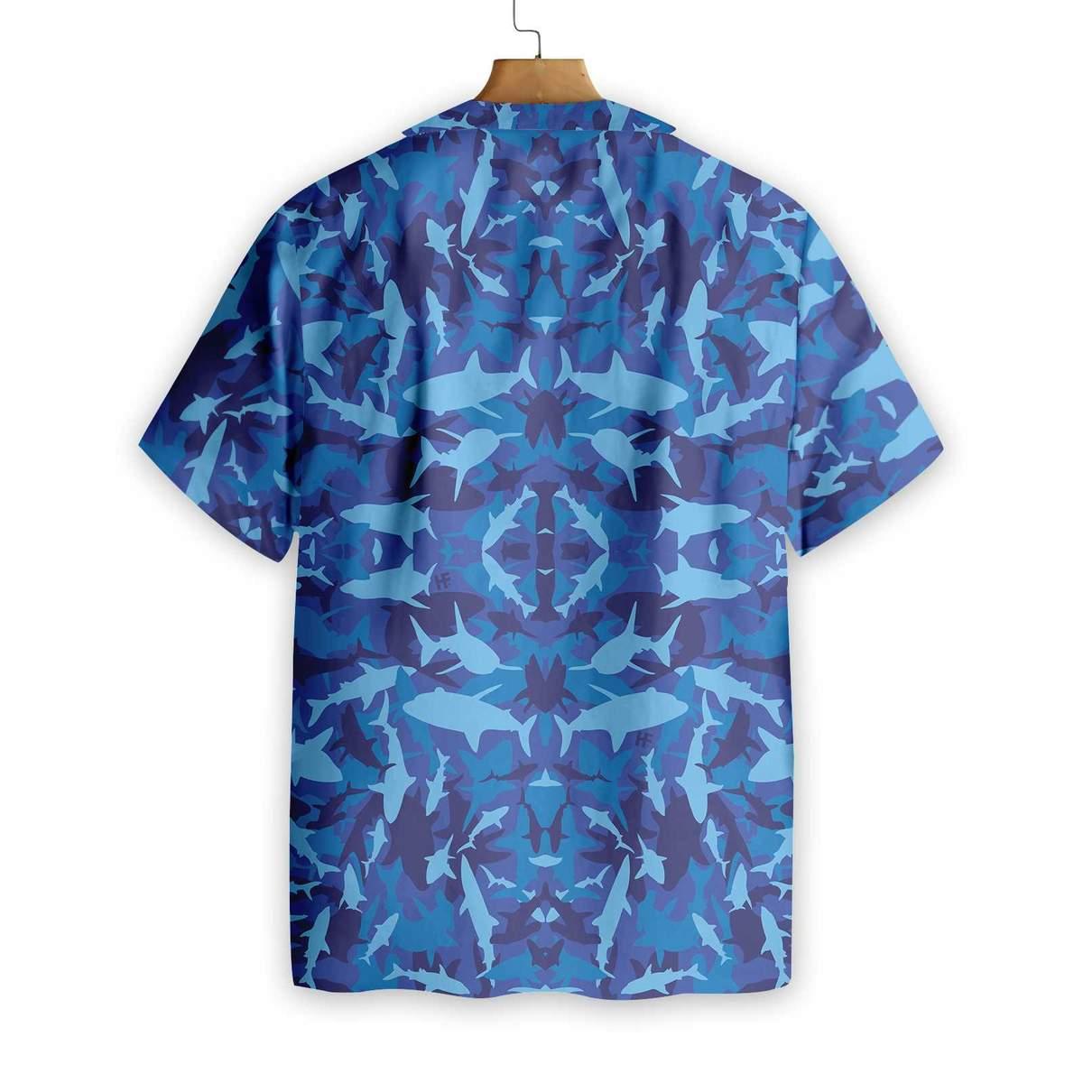 Shark Blue Camo Pattern Hawaiian Shirt1