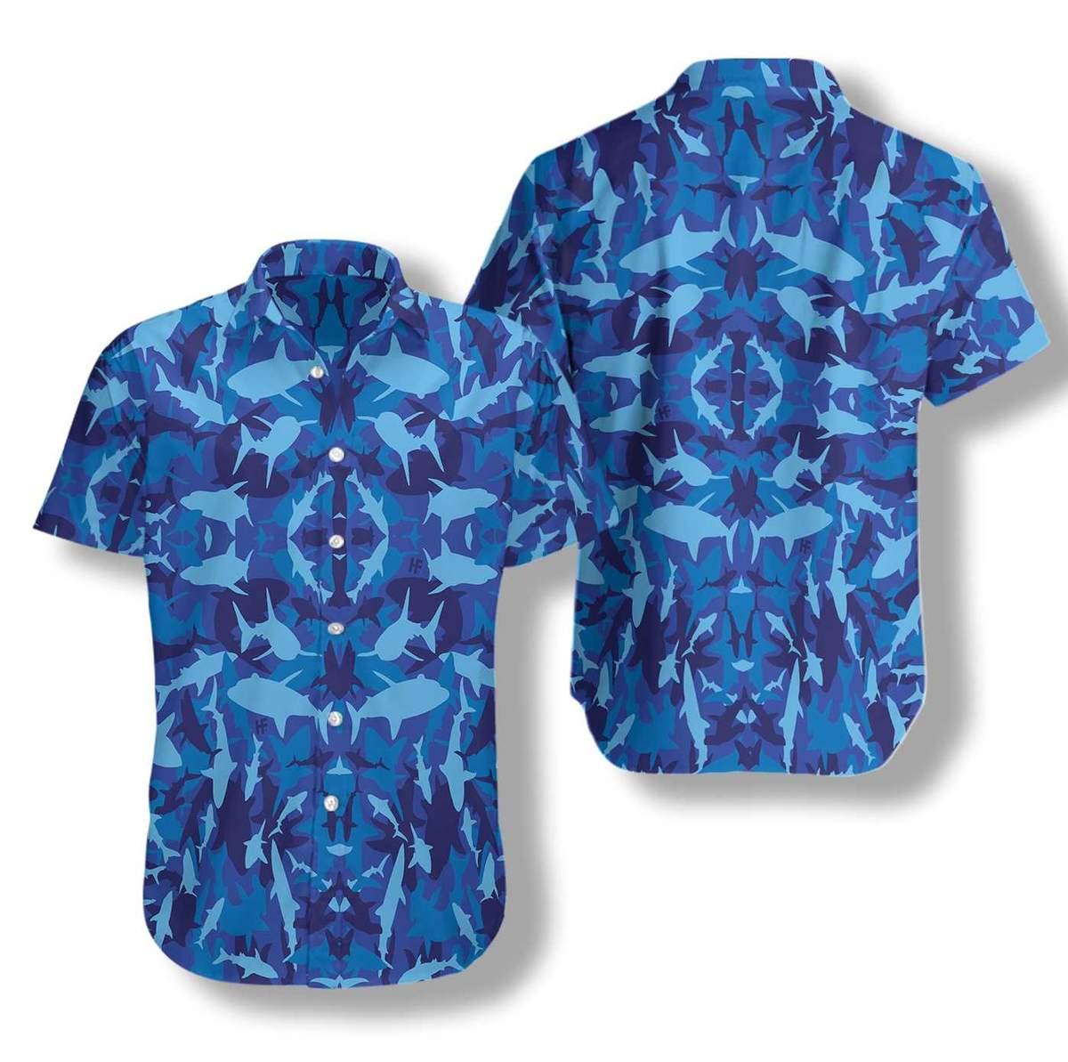 Shark Blue Camo Pattern Hawaiian Shirt2